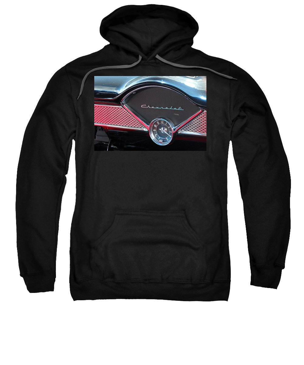 Chevy Sweatshirt featuring the photograph Chevy Dash Clock by Carolyn Stagger Cokley