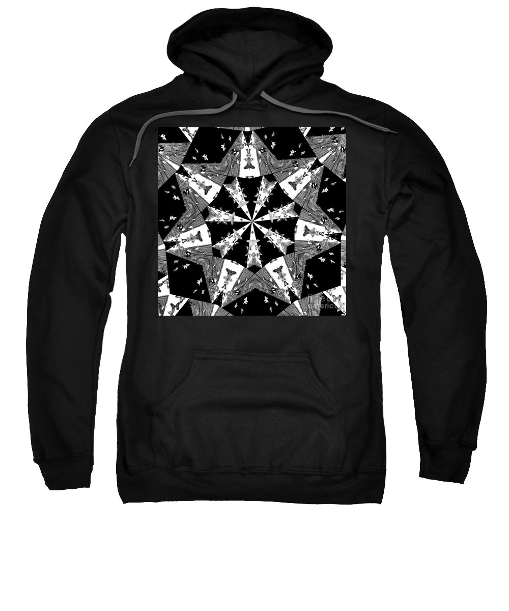 Butterflies Sweatshirt featuring the photograph Children Animals Kaleidoscope Black And White by Donna Brown