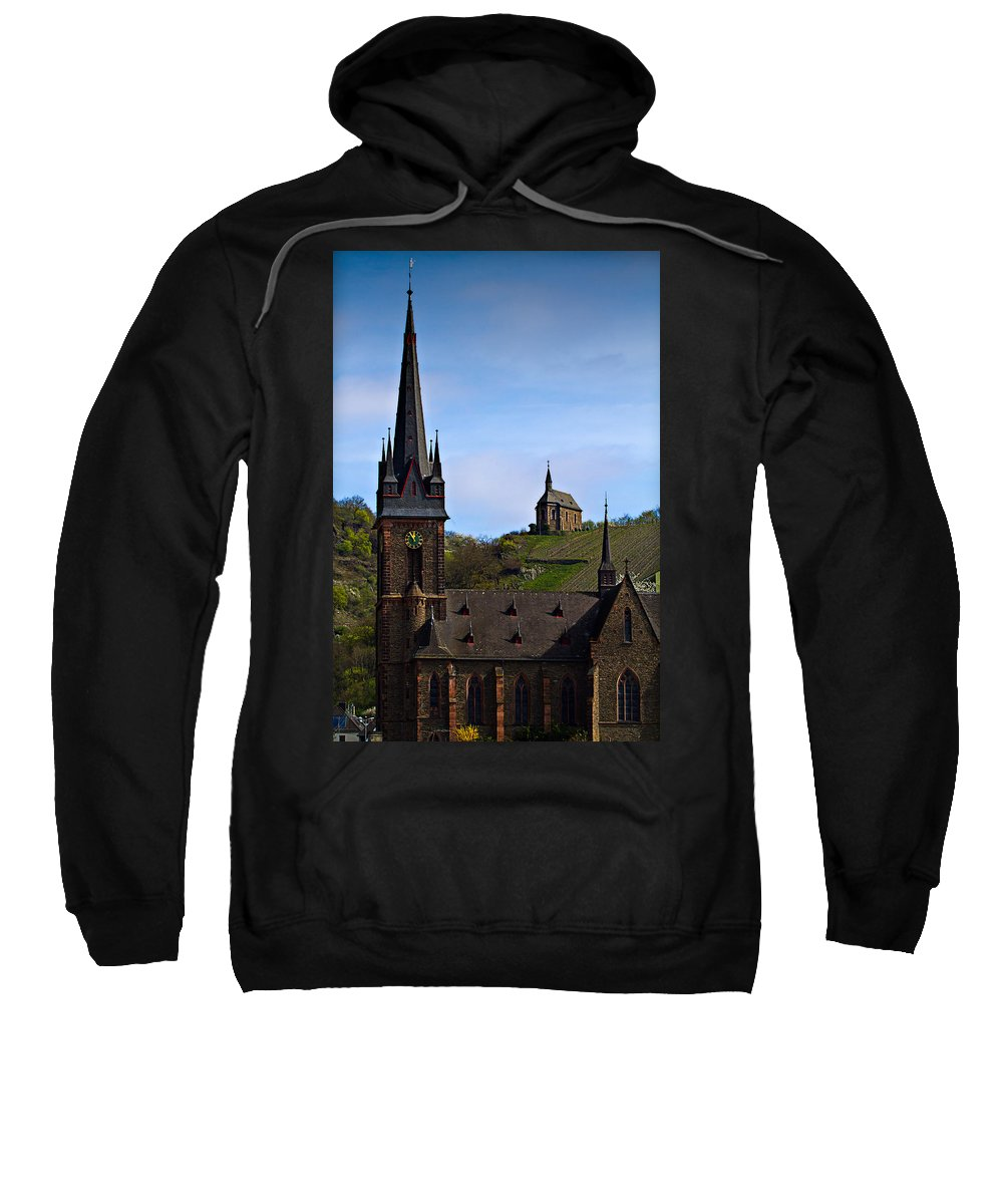 Hdr Sweatshirt featuring the photograph Churches Of Lorchhausen - Color by Bill Lindsay