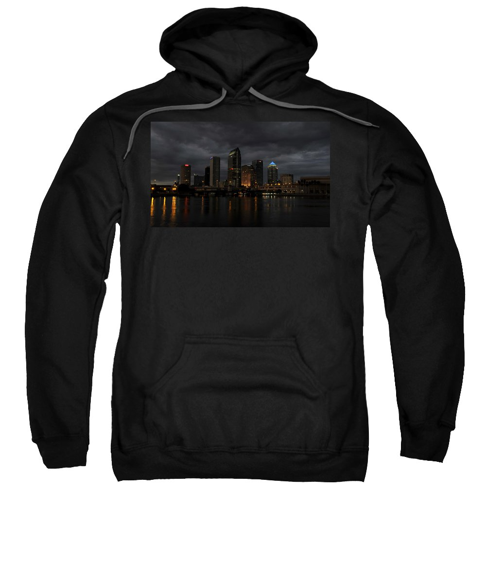 Tampa Bay Florida Sweatshirt featuring the photograph City In The Storm by David Lee Thompson