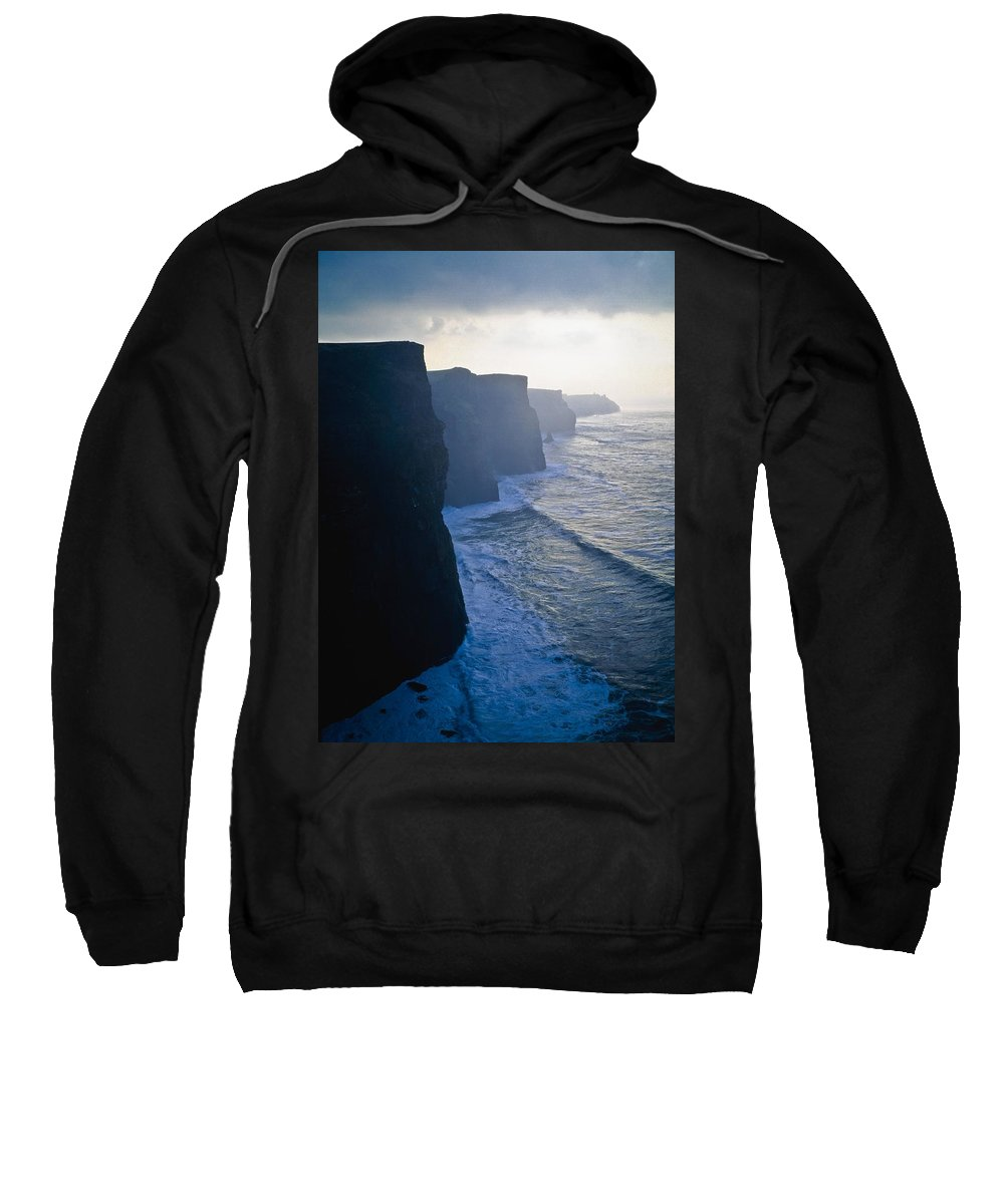 Cliffs Sweatshirt featuring the photograph Cliffs Of Moher,co Clare,irelandview Of by The Irish Image Collection