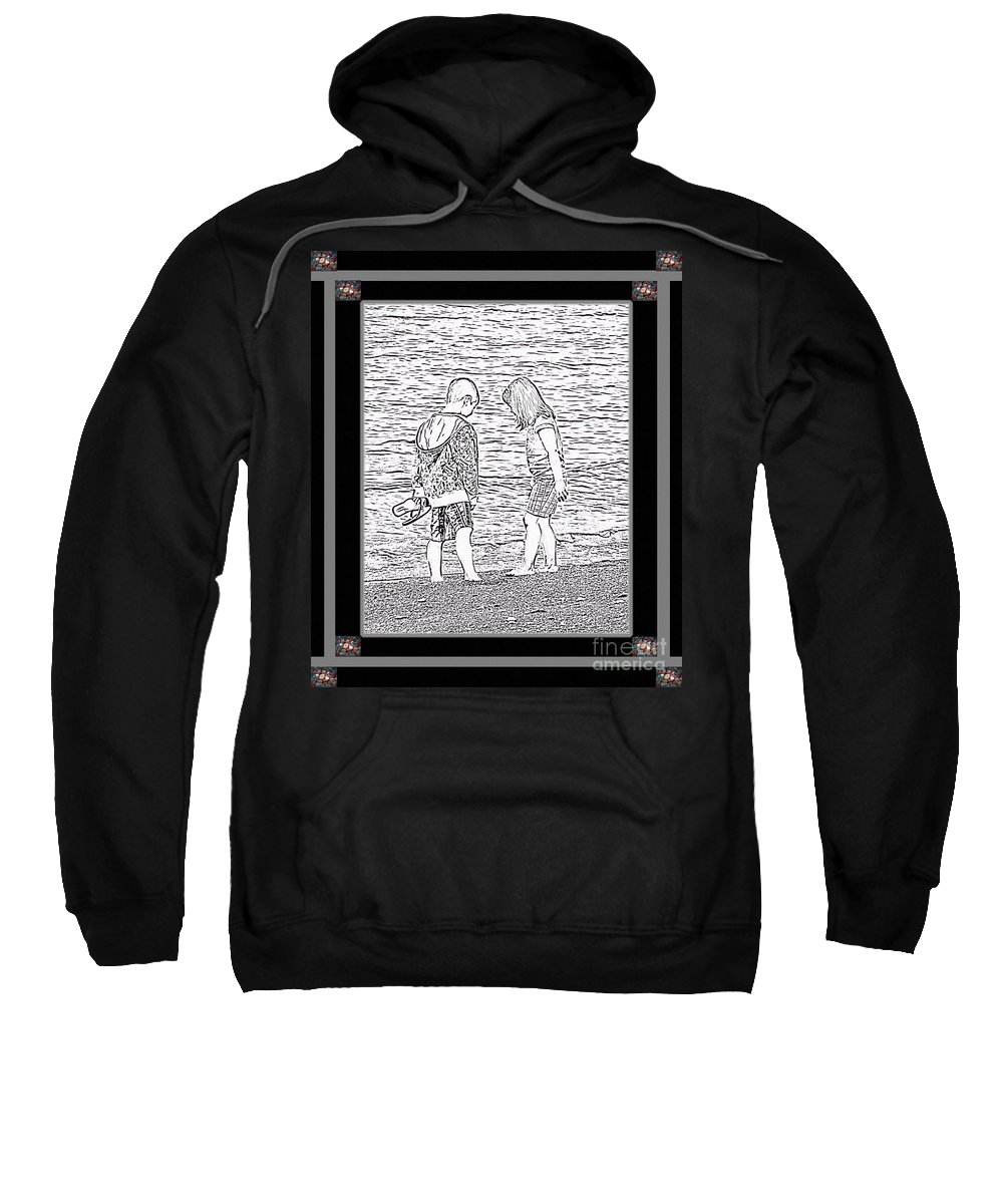 Sketch Sweatshirt featuring the photograph Collecting Seashells By The Seashore by Barbara Griffin