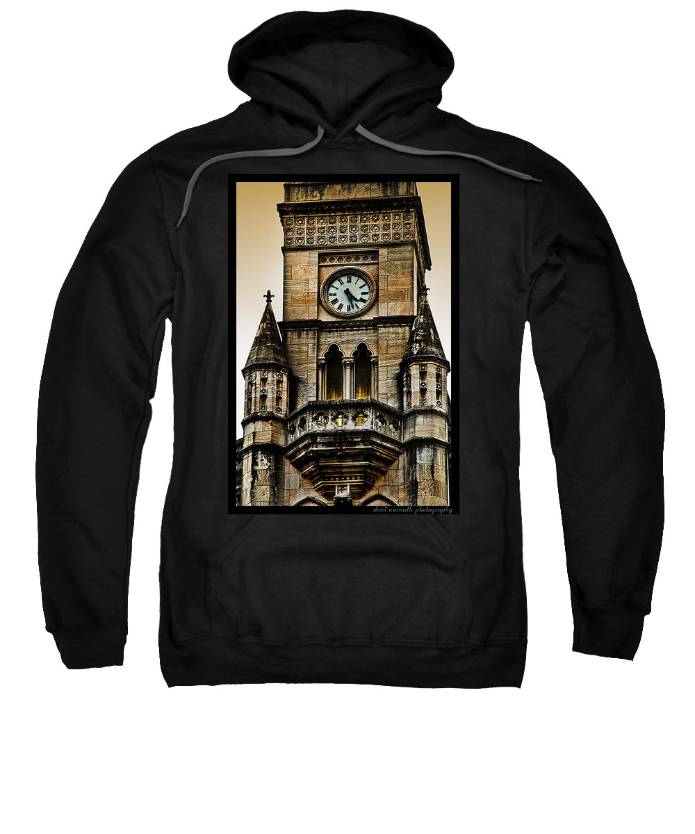 Clock Sweatshirt featuring the photograph Colored Clock by Sheri Bartoszek