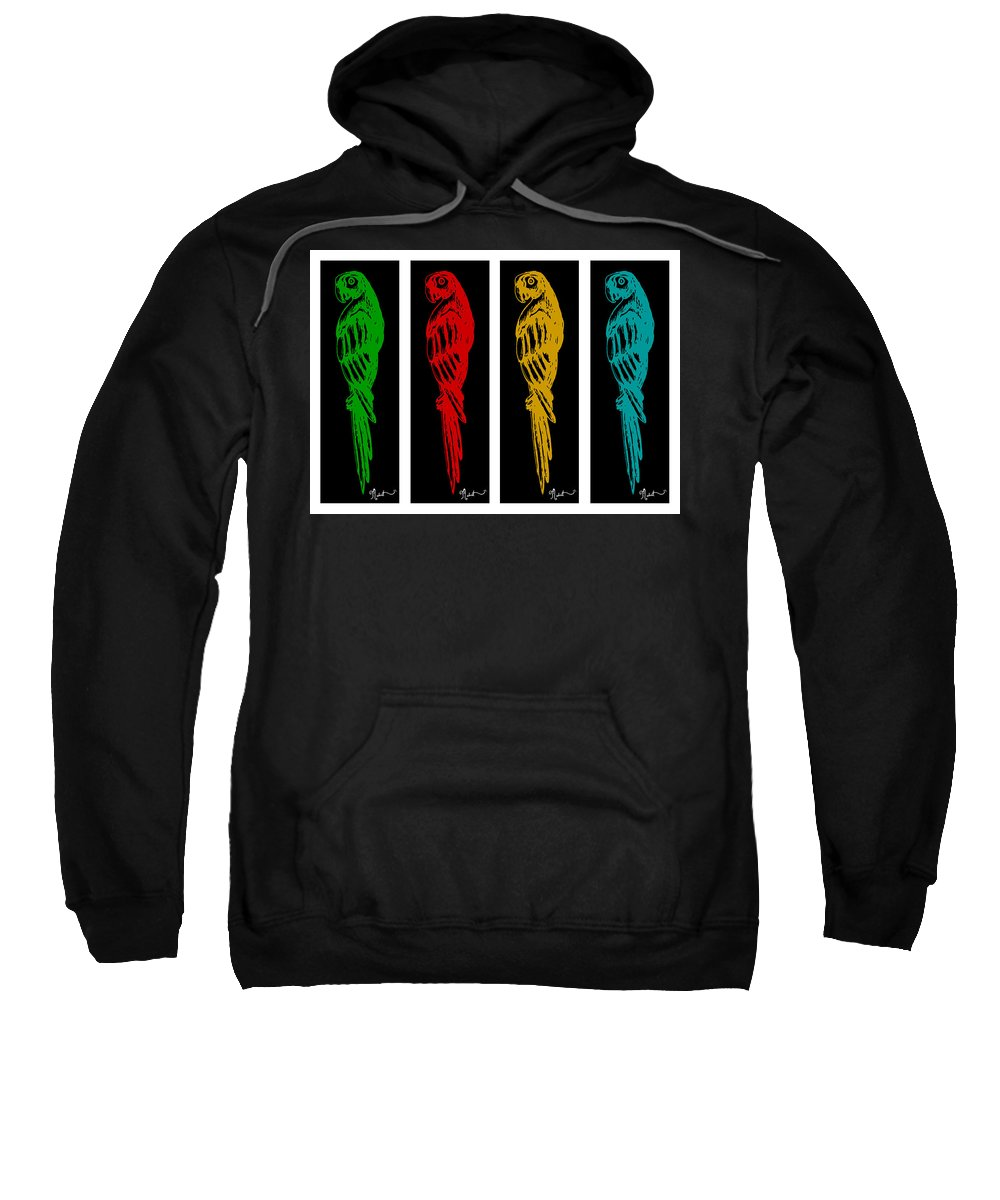 Parrot Sweatshirt featuring the digital art Colorful Tropical Parrot Abstract Parrot Ink Sketch Digital And Original Art By Madart by Megan Duncanson