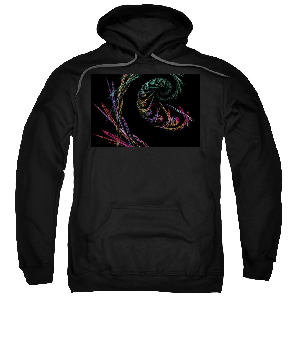 Power Sweatshirt featuring the digital art Computer Generated Abstract Fractal Flame Black Modern Art by Keith Webber Jr