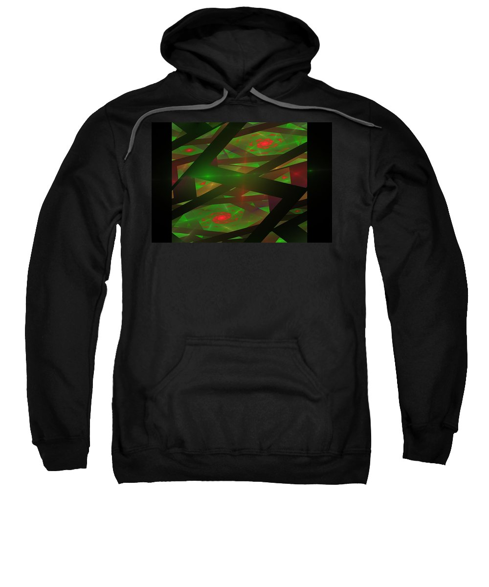 Green Sweatshirt featuring the digital art Computer Generated Green Triangles Abstract Fractal Flame Abstract Art by Keith Webber Jr