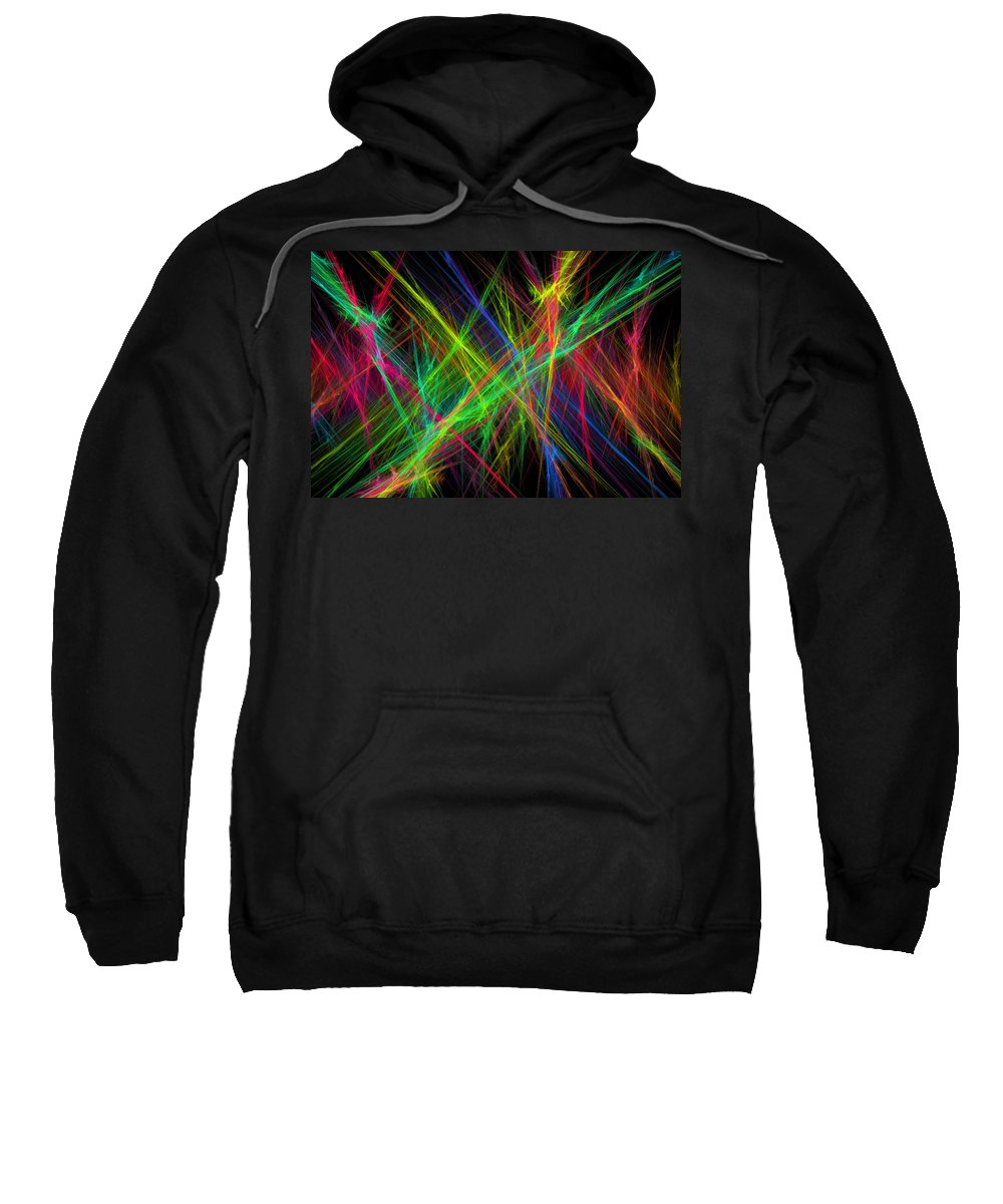 Power Sweatshirt featuring the digital art Computer Generated Lines Abstract Fractal Flame Black Background by Keith Webber Jr