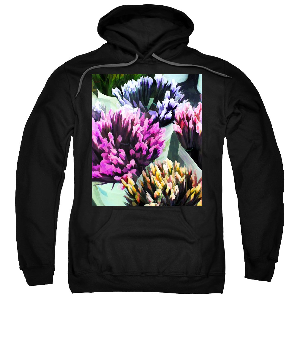 Flower Flowers Garden Iris Bucket Farmer's+market Flora Floral Nature Natural Sweatshirt featuring the painting Containers Of Mixed Iris At The Farmer's Market by Elaine Plesser