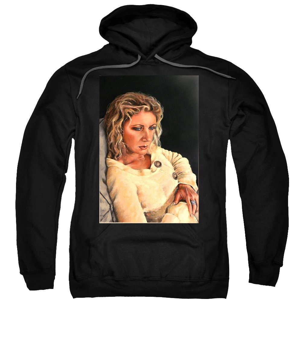 Portrait Sweatshirt featuring the painting Contemplation by Jolante Hesse