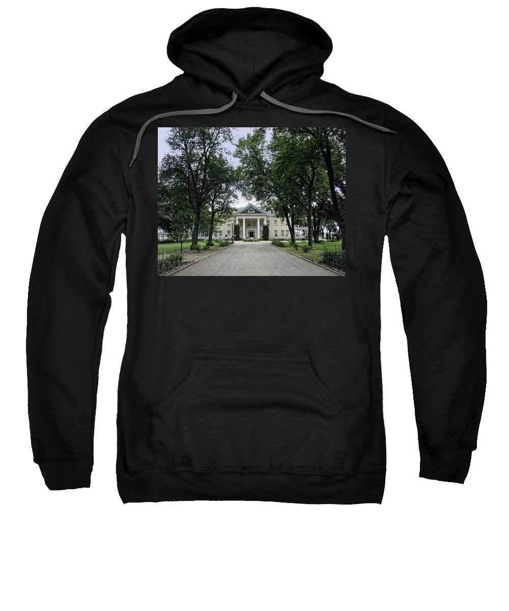 Montana Sweatshirt featuring the photograph Copper King Daly's Riverside Mansion - Hamilton Montana by Daniel Hagerman