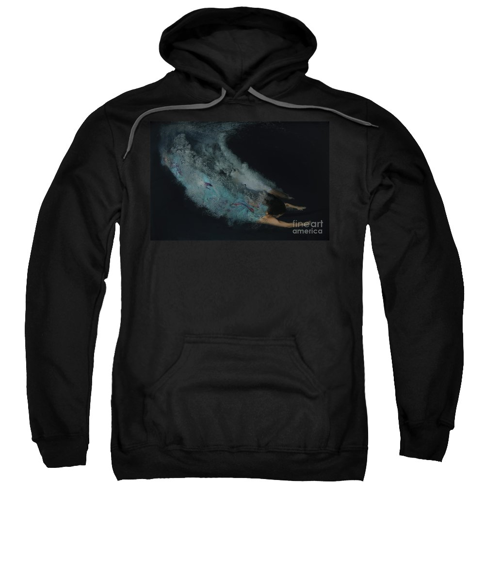 Skill Sweatshirt featuring the photograph Couple Dive Together Into Water. by Hagai Nativ