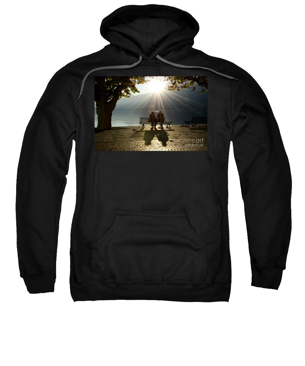 Couple Sweatshirt featuring the photograph Couple On A Bench by Mats Silvan