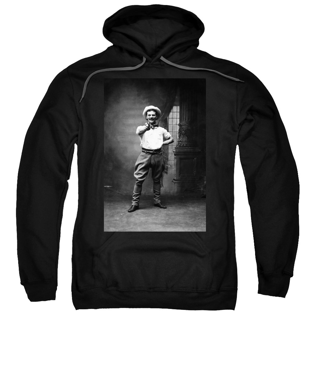 1880 Sweatshirt featuring the photograph Cowboy, 1880 by Granger