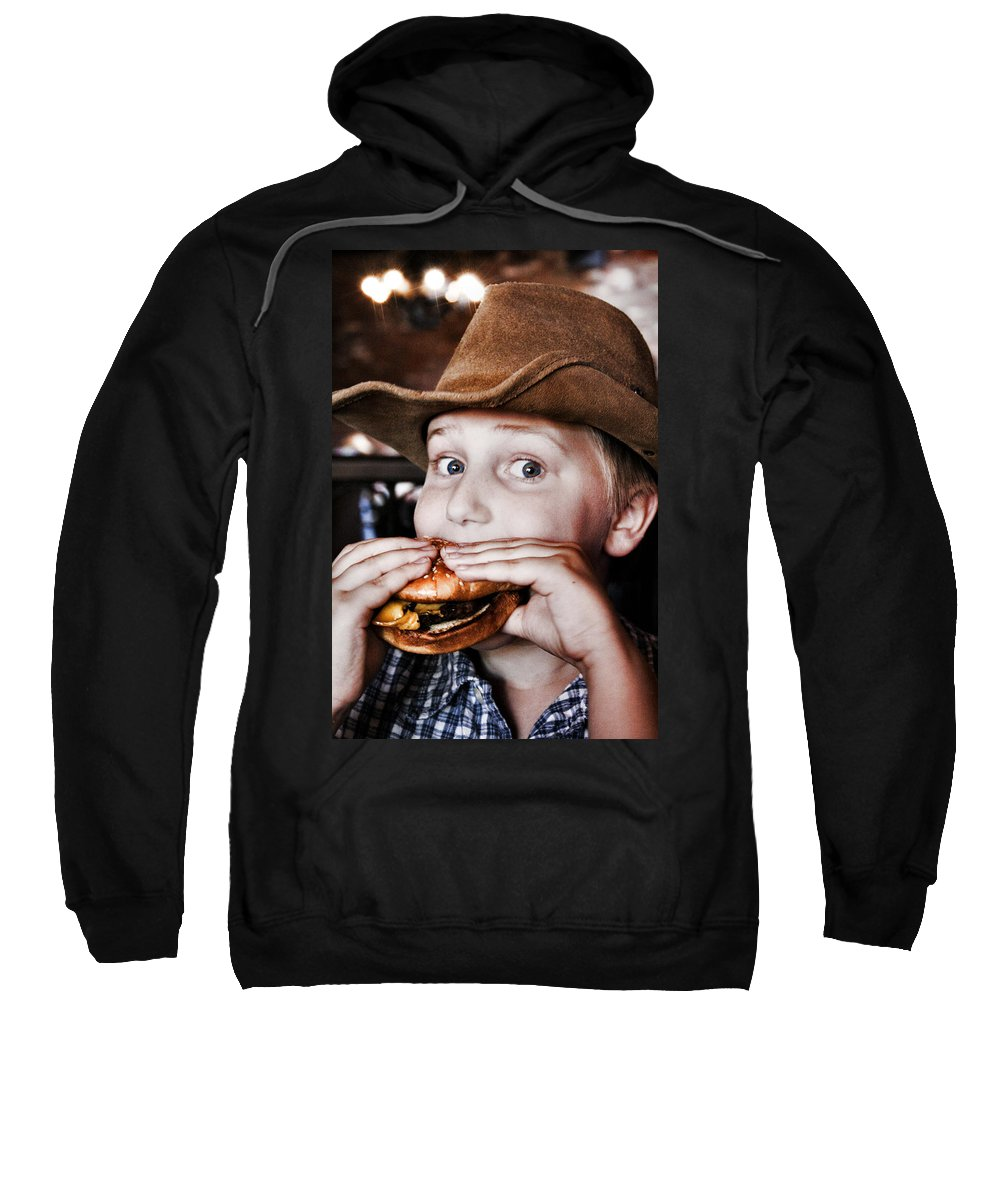Cowboy Sweatshirt featuring the photograph Cowburger by Sally Bauer