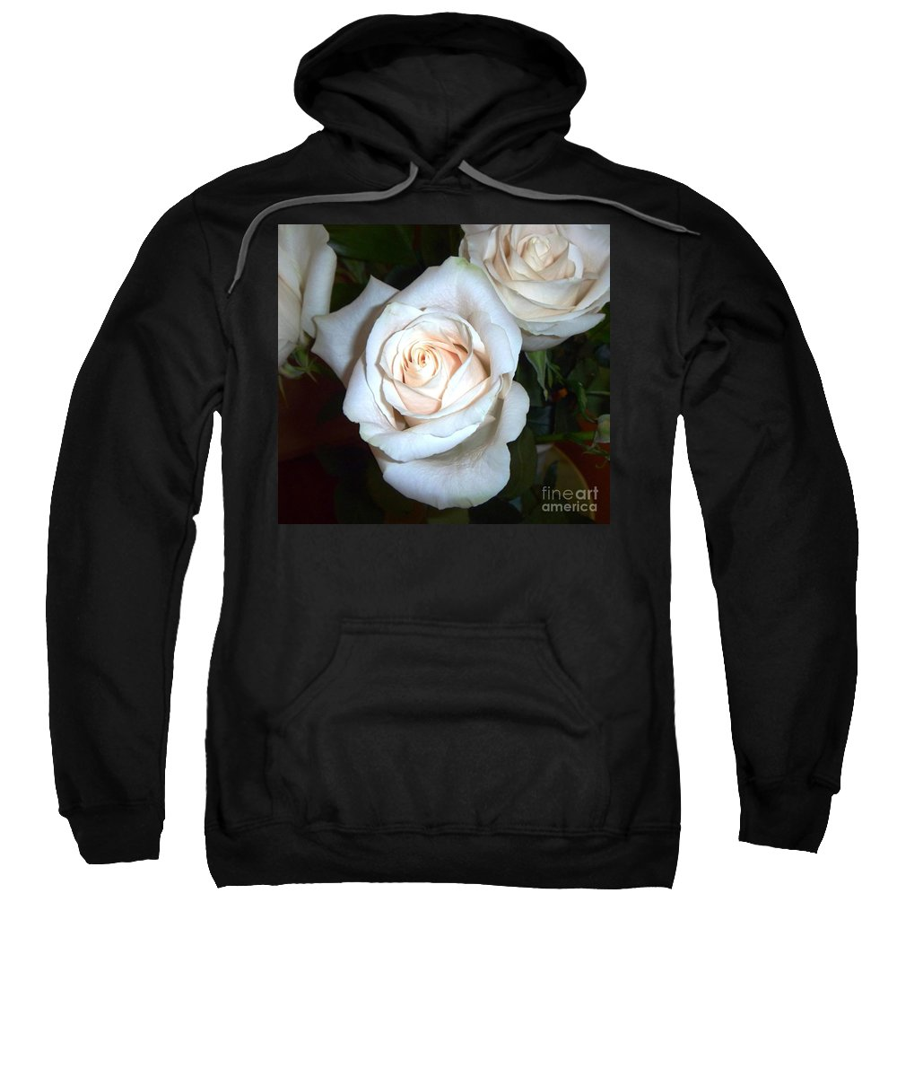 Creamy Roses Sweatshirt featuring the photograph Creamy Roses IIi by Alys Caviness-Gober