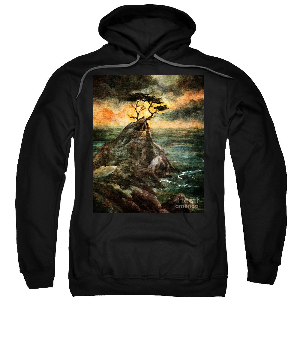 Grunge Sweatshirt featuring the digital art Cypress Tree In Storm by Laura Iverson