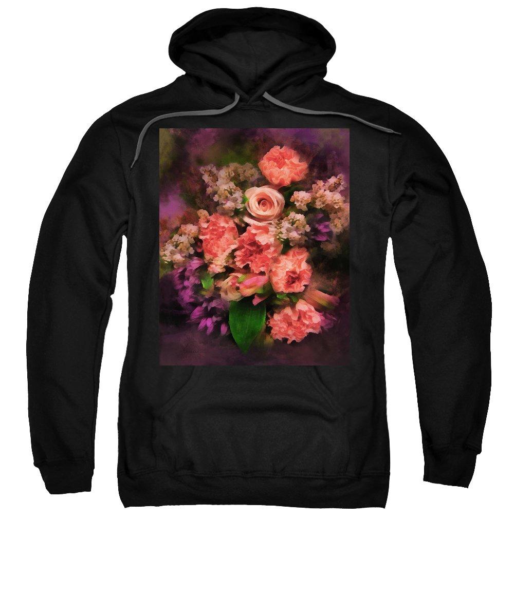 Bouquet Sweatshirt featuring the digital art Dark Bouquet by Francesa Miller