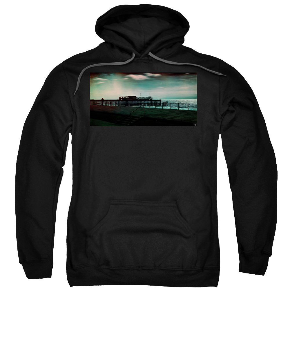 Seafront Sweatshirt featuring the photograph Dawn On The Seafront At Hastings by Chris Lord