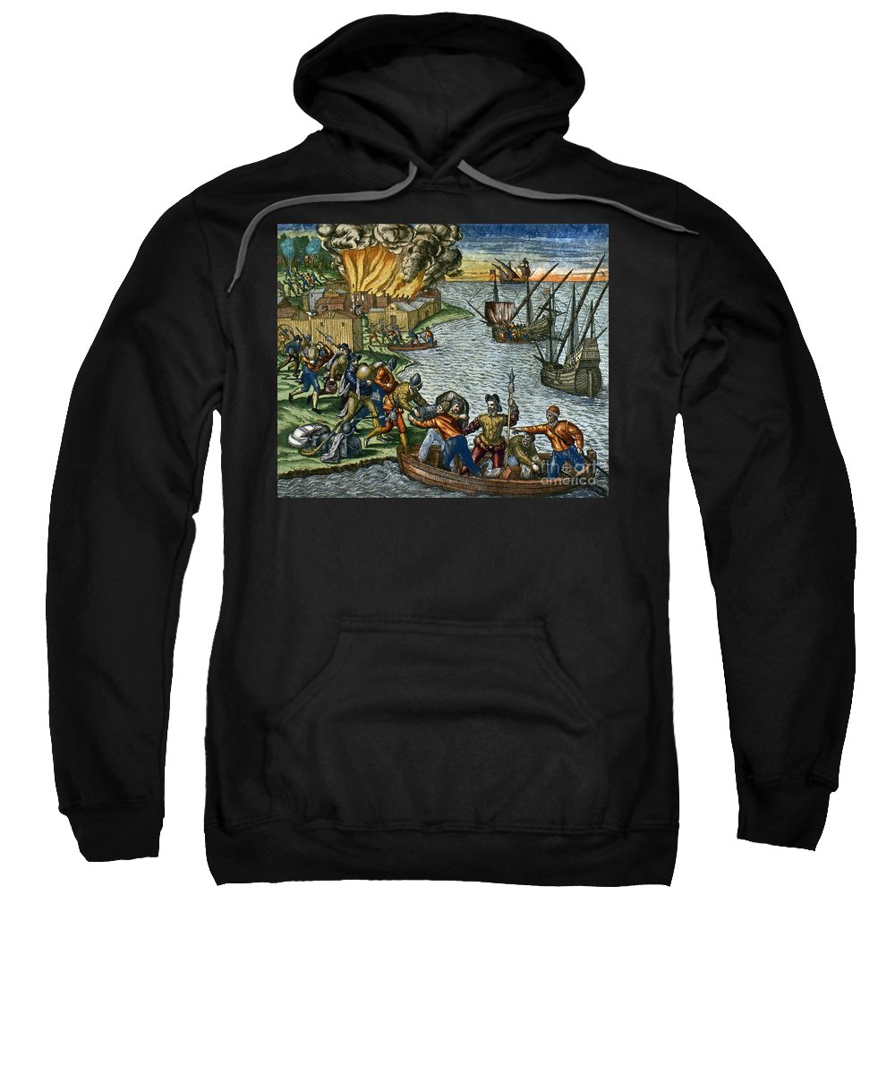 1590 Sweatshirt featuring the photograph De Bry: Chicora, 1590 by Granger