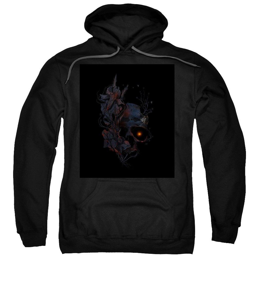 Skull Sweatshirt featuring the mixed media Deathblooms by Nicebleed