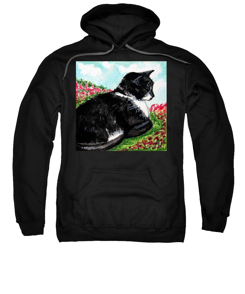 Cat Sweatshirt featuring the painting Deep Thoughts by Elizabeth Robinette Tyndall