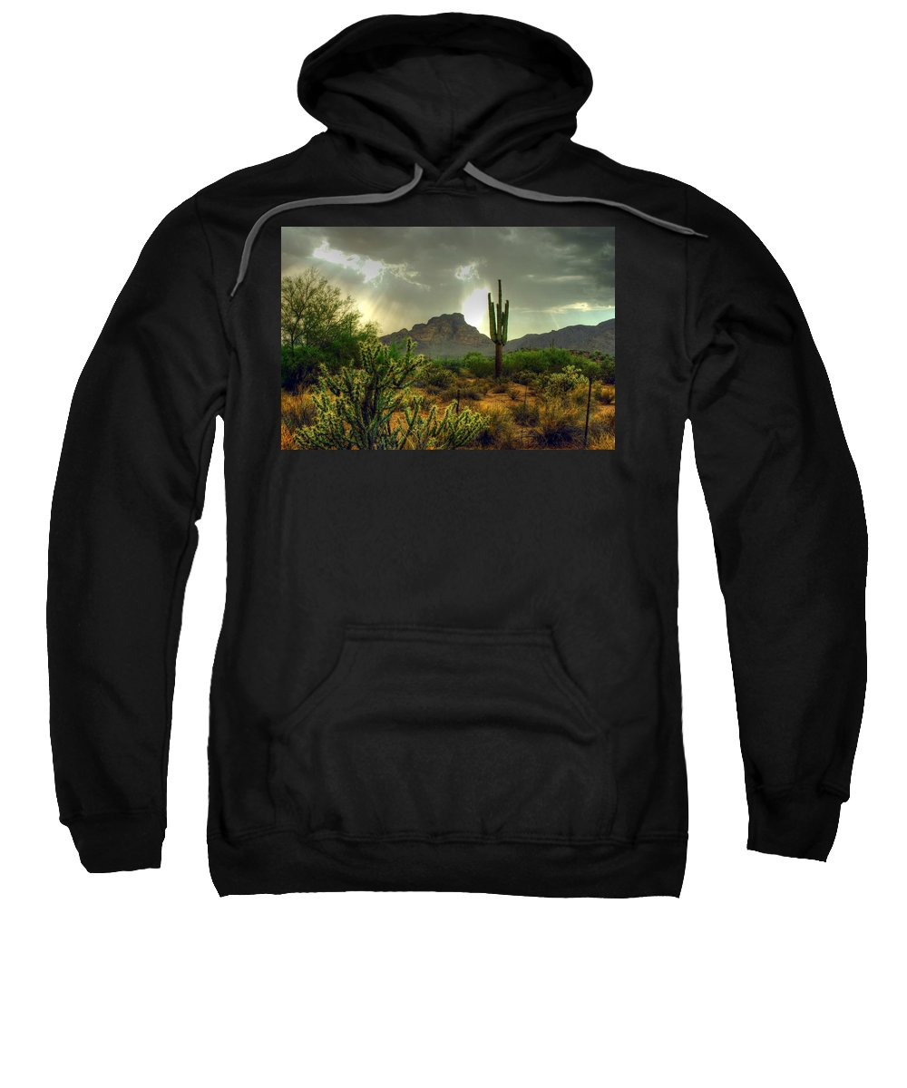 Saguaro Sweatshirt featuring the photograph Desert Sun Rays by Tam Ryan