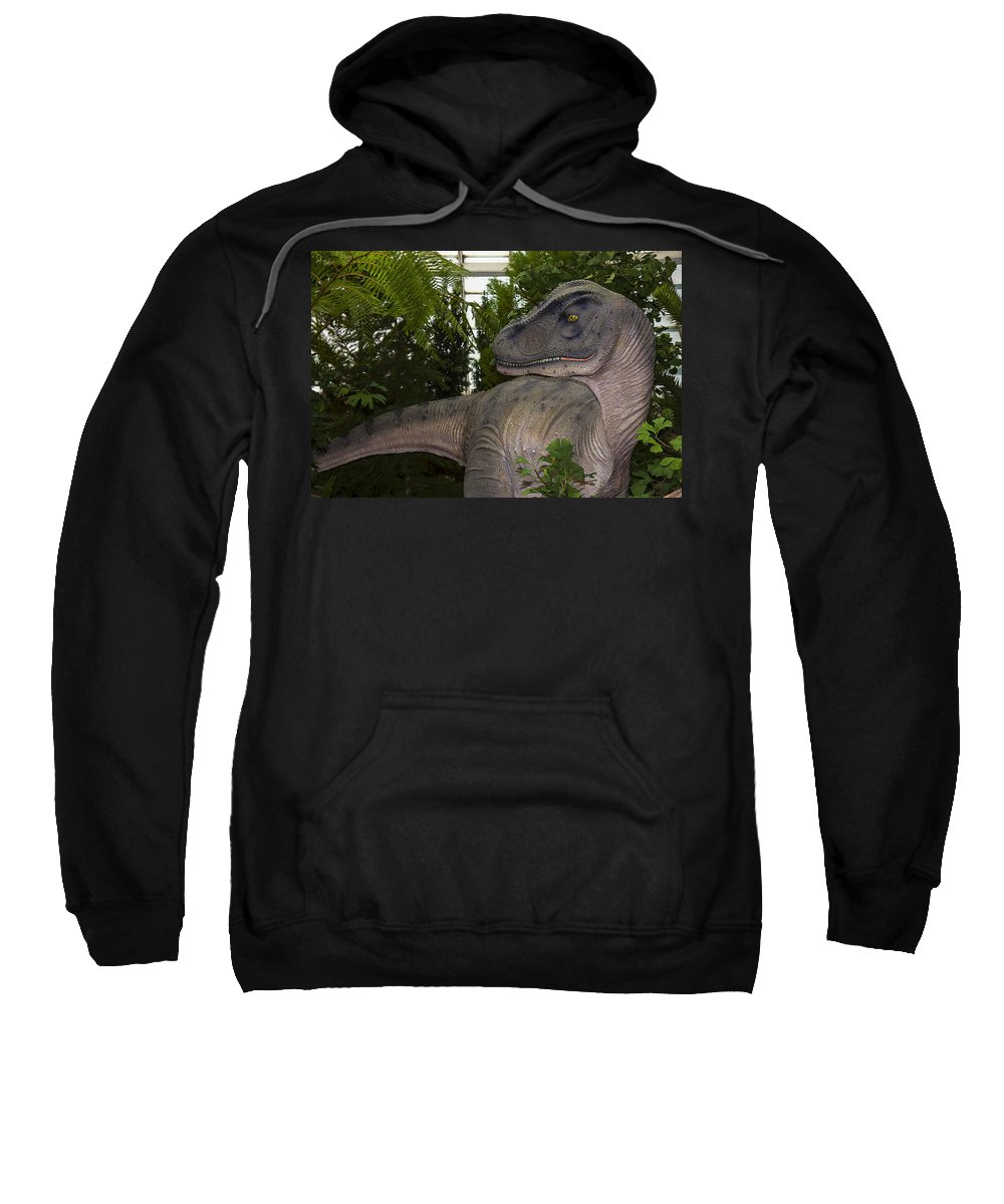 Allosaurus Sweatshirt featuring the photograph Dinosaur Inside The Conservatory by Garry Gay