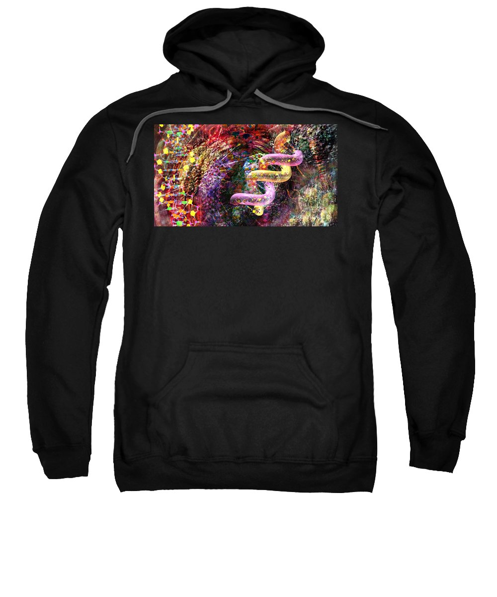 Abstract Sweatshirt featuring the digital art Dna Dreaming 4 by Russell Kightley