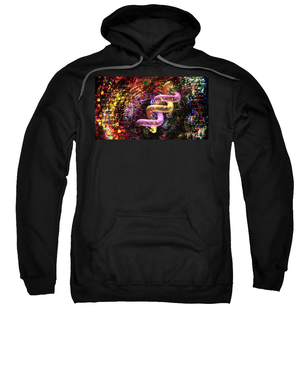 Abstract Sweatshirt featuring the digital art Dna Dreaming 6 by Russell Kightley