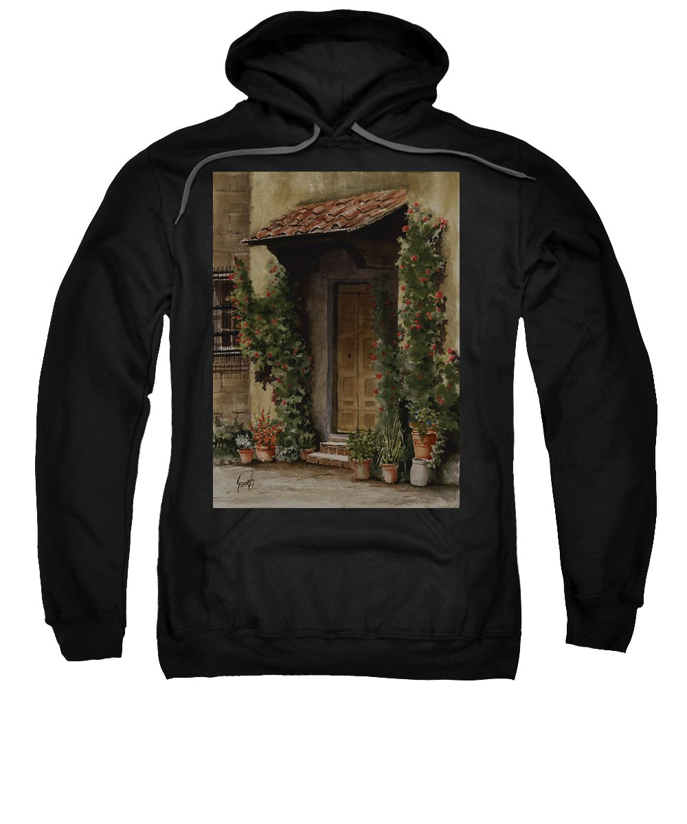 Door Sweatshirt featuring the painting Door With Roses by Sam Sidders