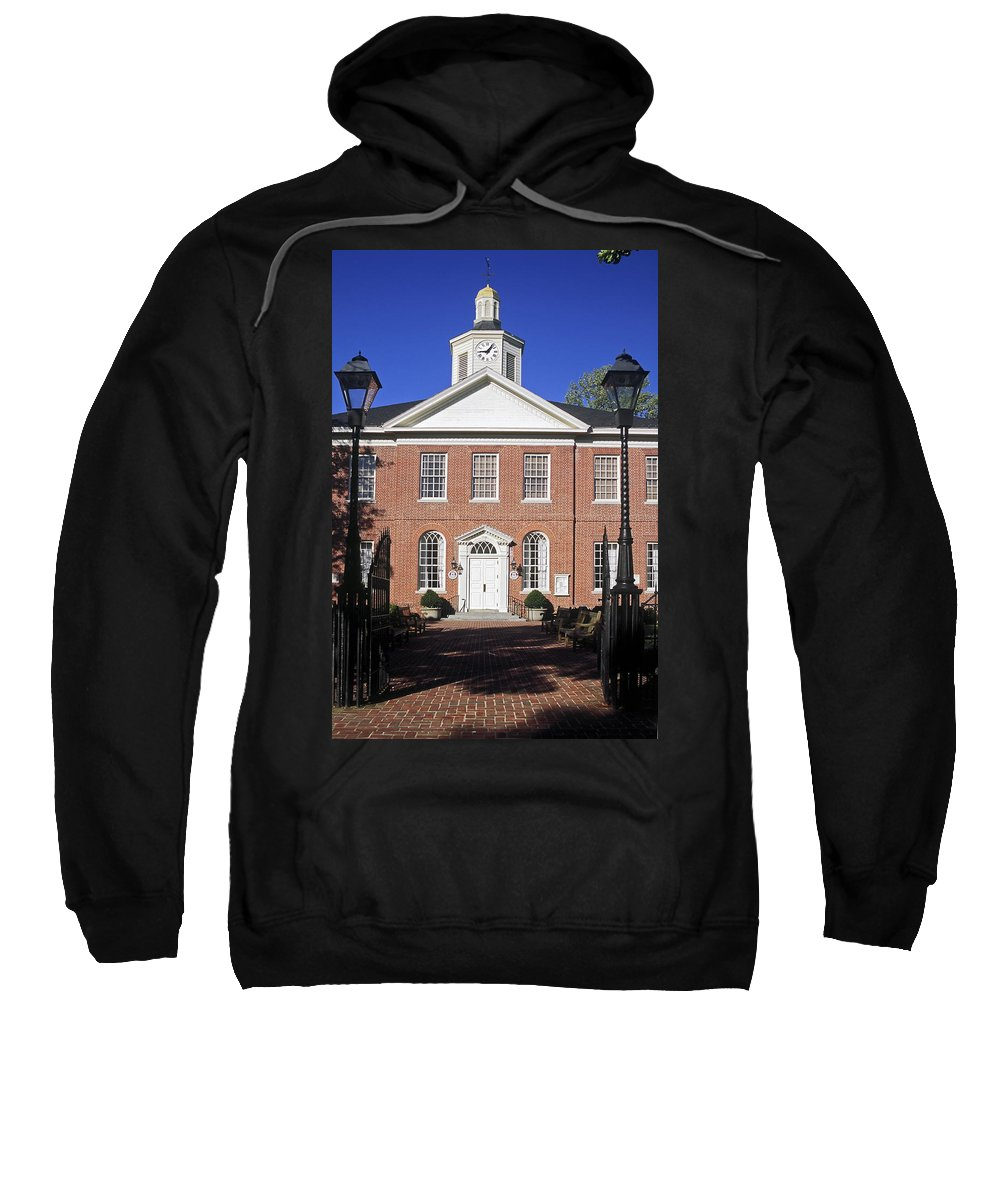 1710 Red Brick Courthouse Sweatshirt featuring the photograph Easton Maryland Courthouse by Sally Weigand