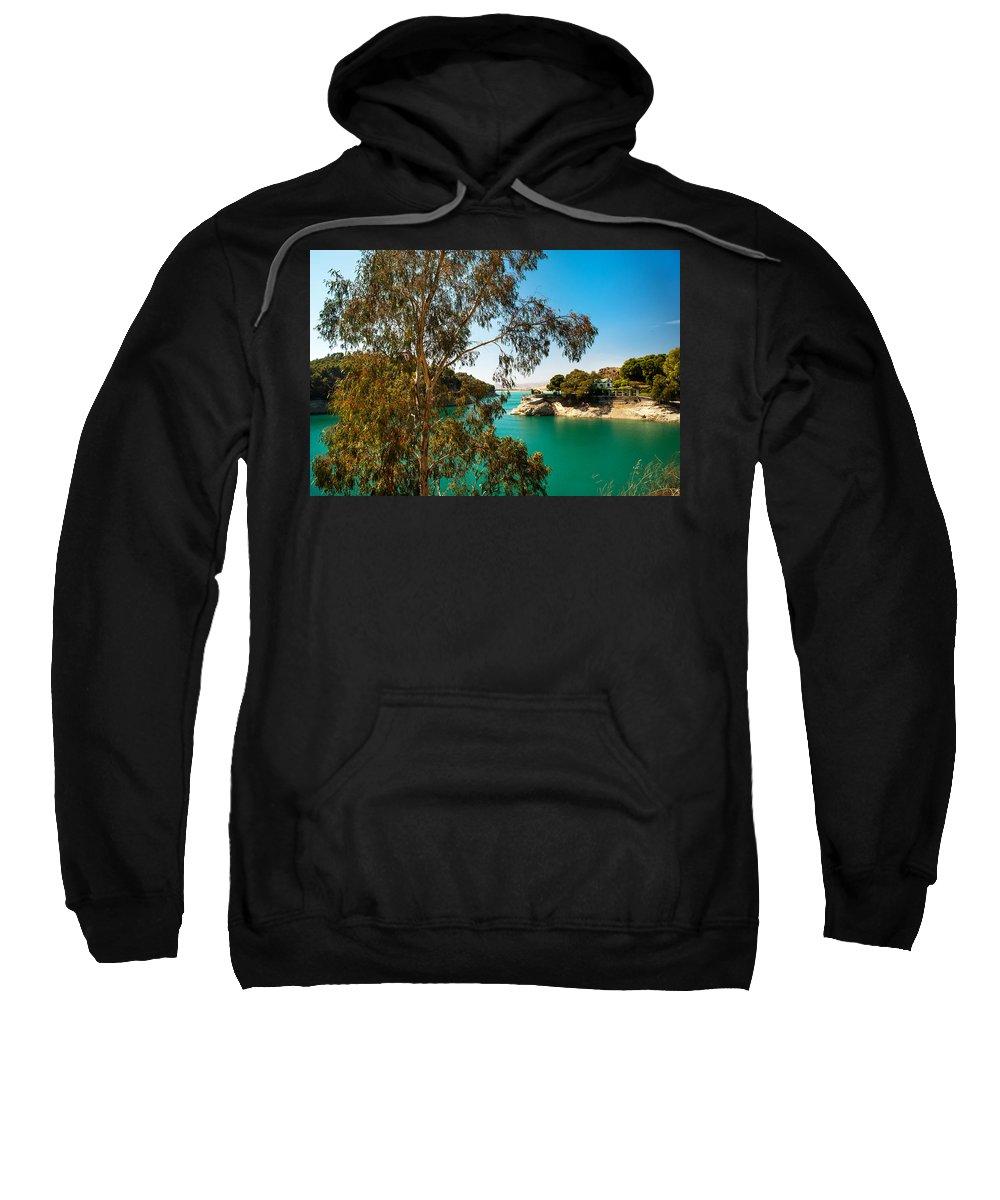 Nature Sweatshirt featuring the photograph Emerald Lake With Duke House I. El Chorro. Spain by Jenny Rainbow