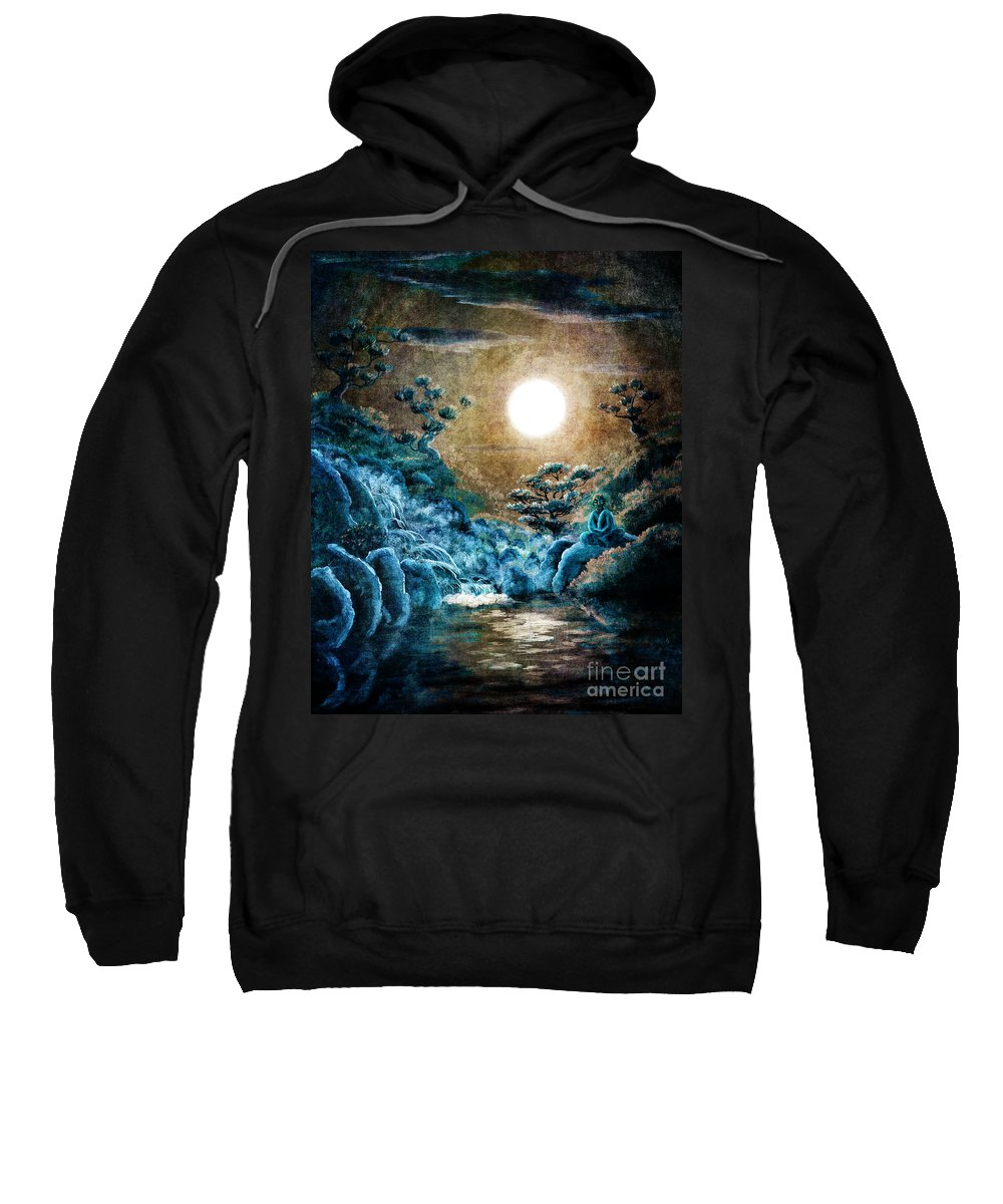 Zen Sweatshirt featuring the digital art Eternal Buddha Meditation by Laura Iverson