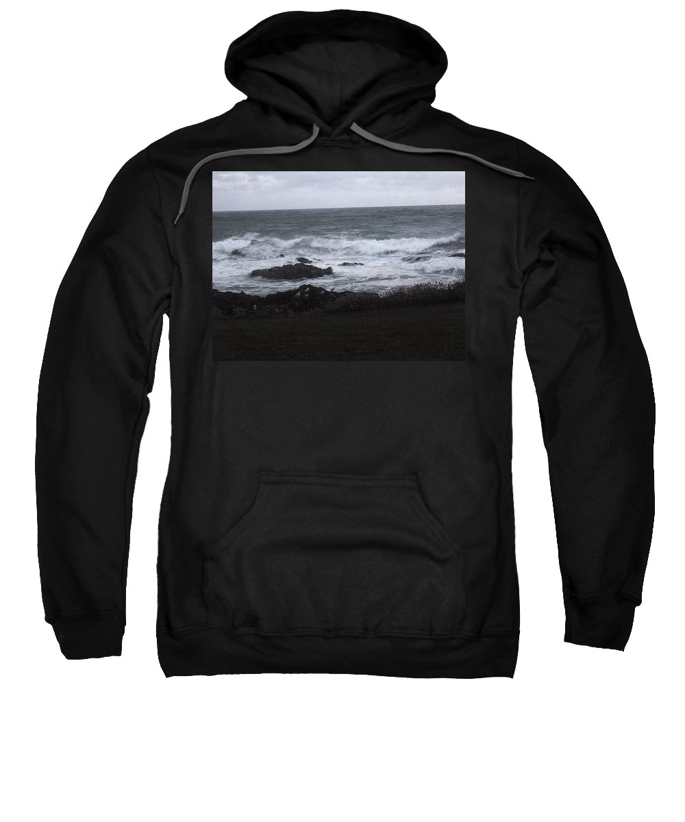 Ocean Sweatshirt featuring the photograph Evening Waves by Linda Hutchins