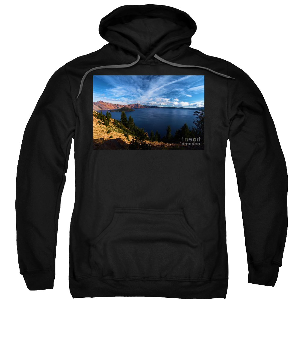 Crater Lake National Park Sweatshirt featuring the photograph Everywhere Blue by Adam Jewell