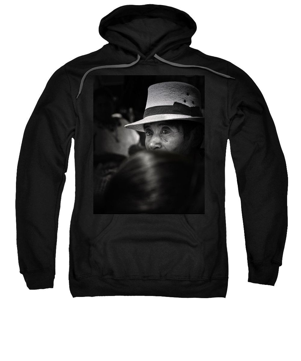 Man Sweatshirt featuring the photograph Eyes Among The Crowd by Tom Bell