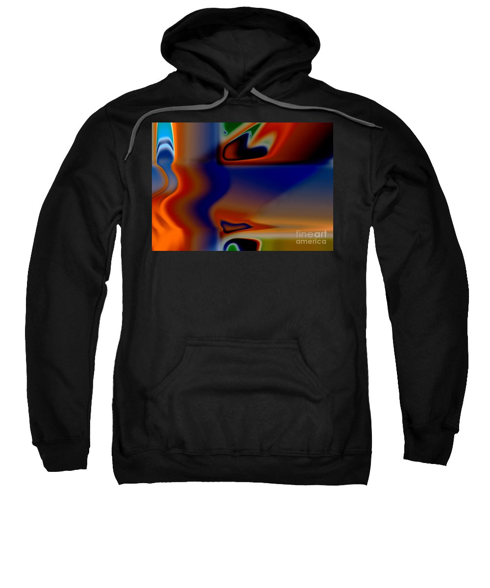 Abstract Sweatshirt featuring the digital art Face 123 by Tom Hubbard