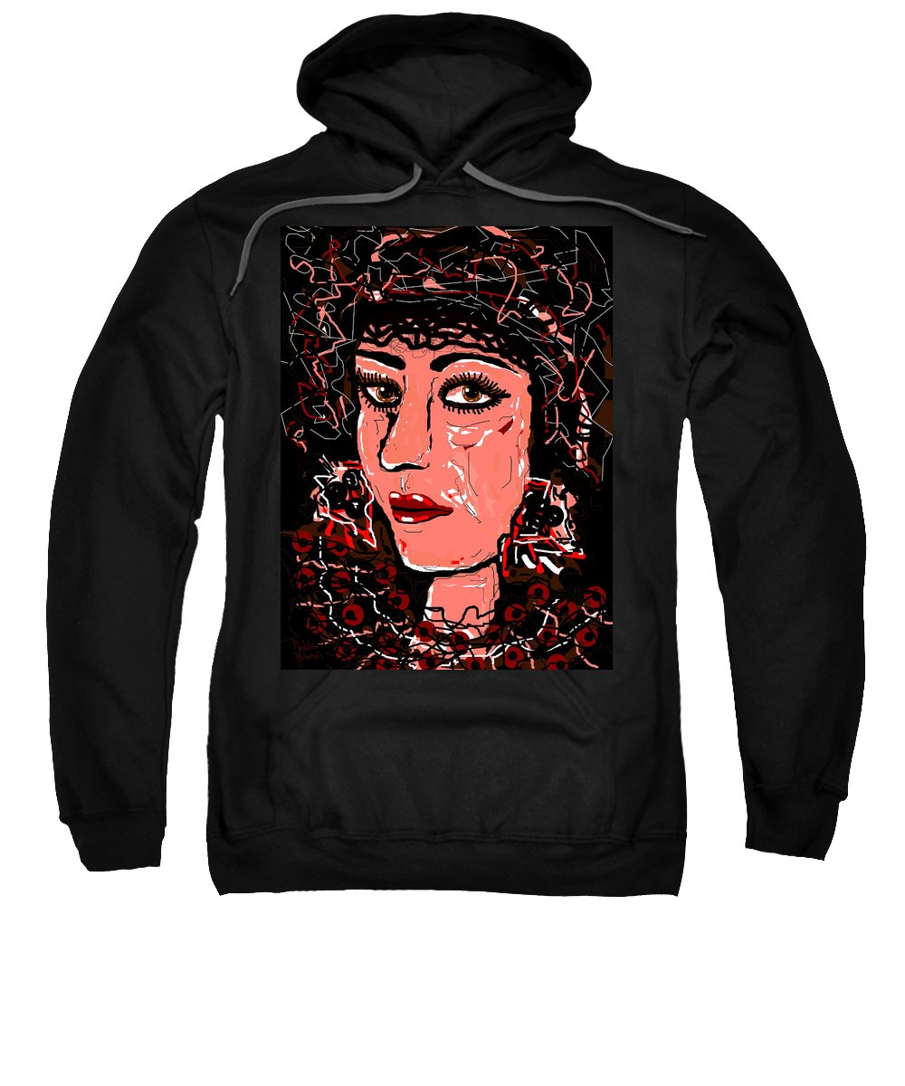 Face Sweatshirt featuring the mixed media Face 3 by Natalie Holland