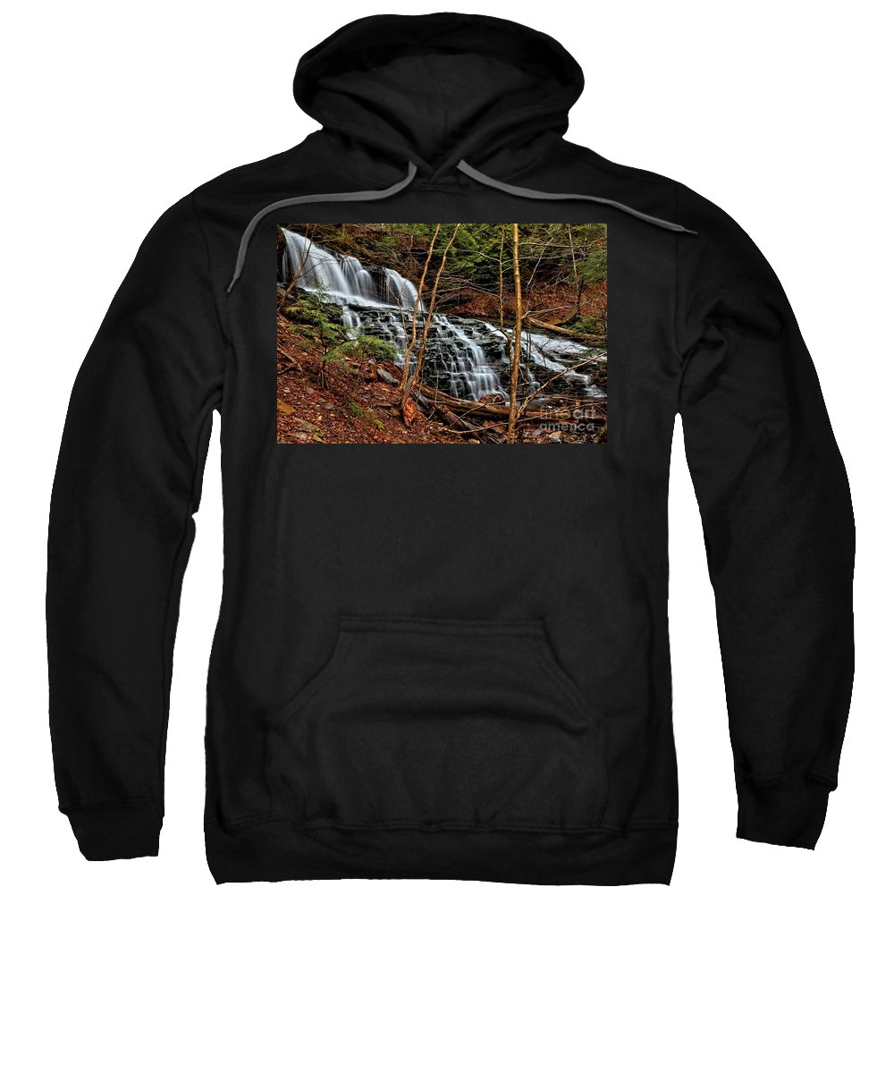 Waterfalls Sweatshirt featuring the photograph Fall Through The Woods by Adam Jewell