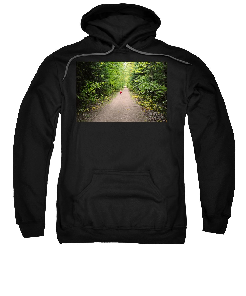 Trail Sweatshirt featuring the photograph Fall Walk by Elaine Mikkelstrup