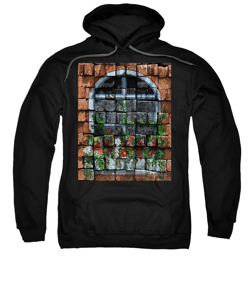 False Window Sweatshirt featuring the digital art False Windowbox by Barbara Griffin