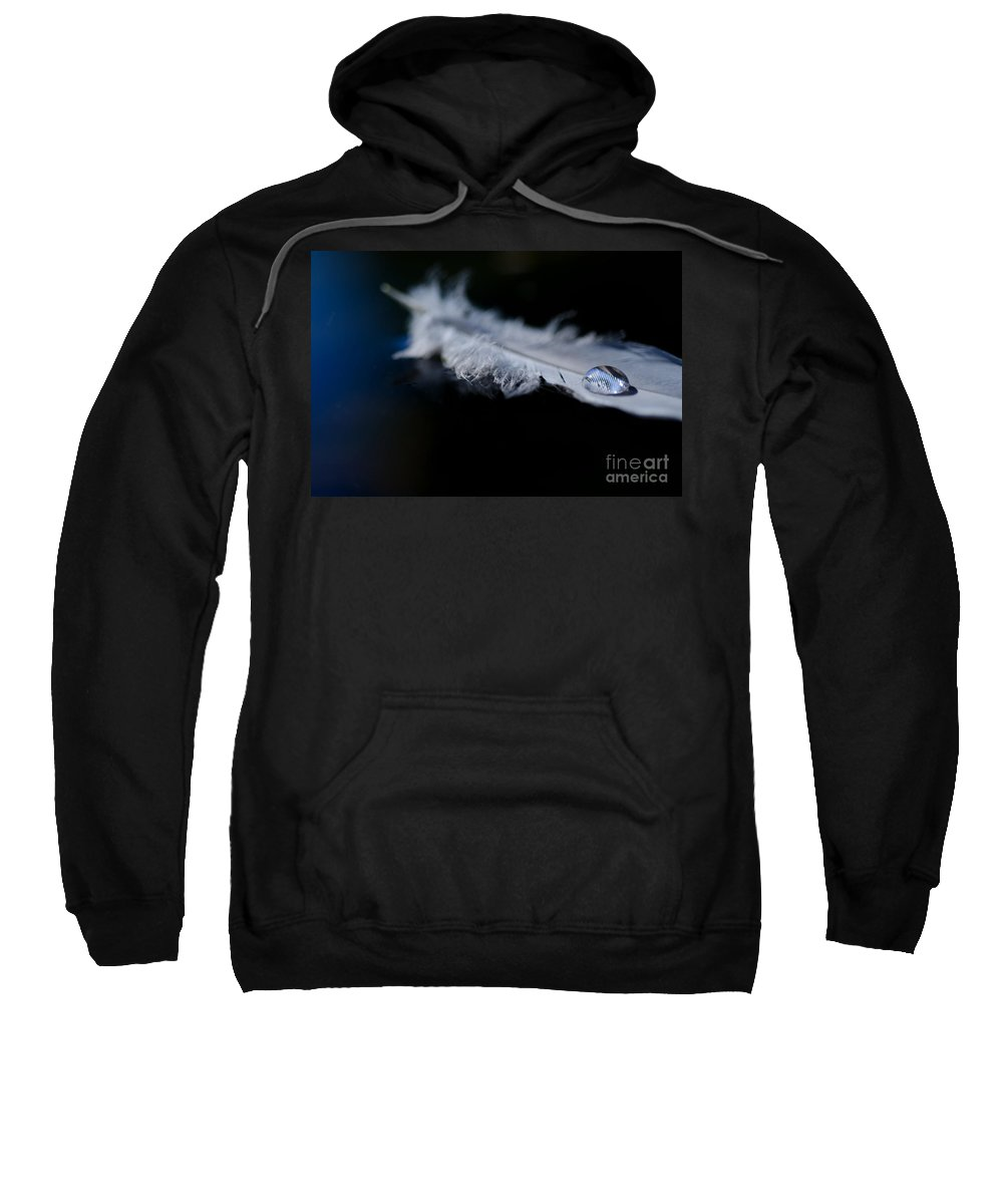 Feather Sweatshirt featuring the photograph Feather With A Water Drop by Mats Silvan