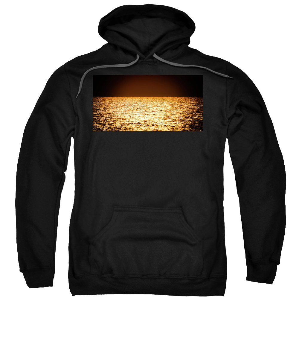 Gold Sweatshirt featuring the photograph Fiery Sunset Over The Sea by Michael Goyberg