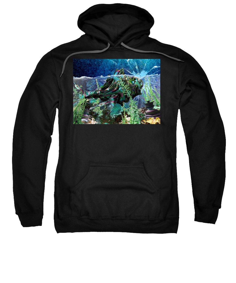 Fractal Sweatshirt featuring the digital art Fish Trouble by Adam Vance