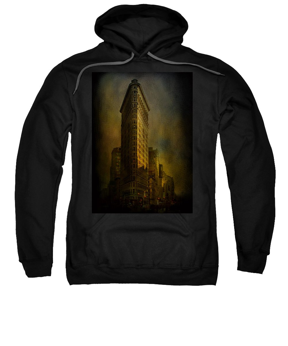 Flatiron Building Sweatshirt featuring the photograph Flatiron Building...my View..revised by Jeff Burgess