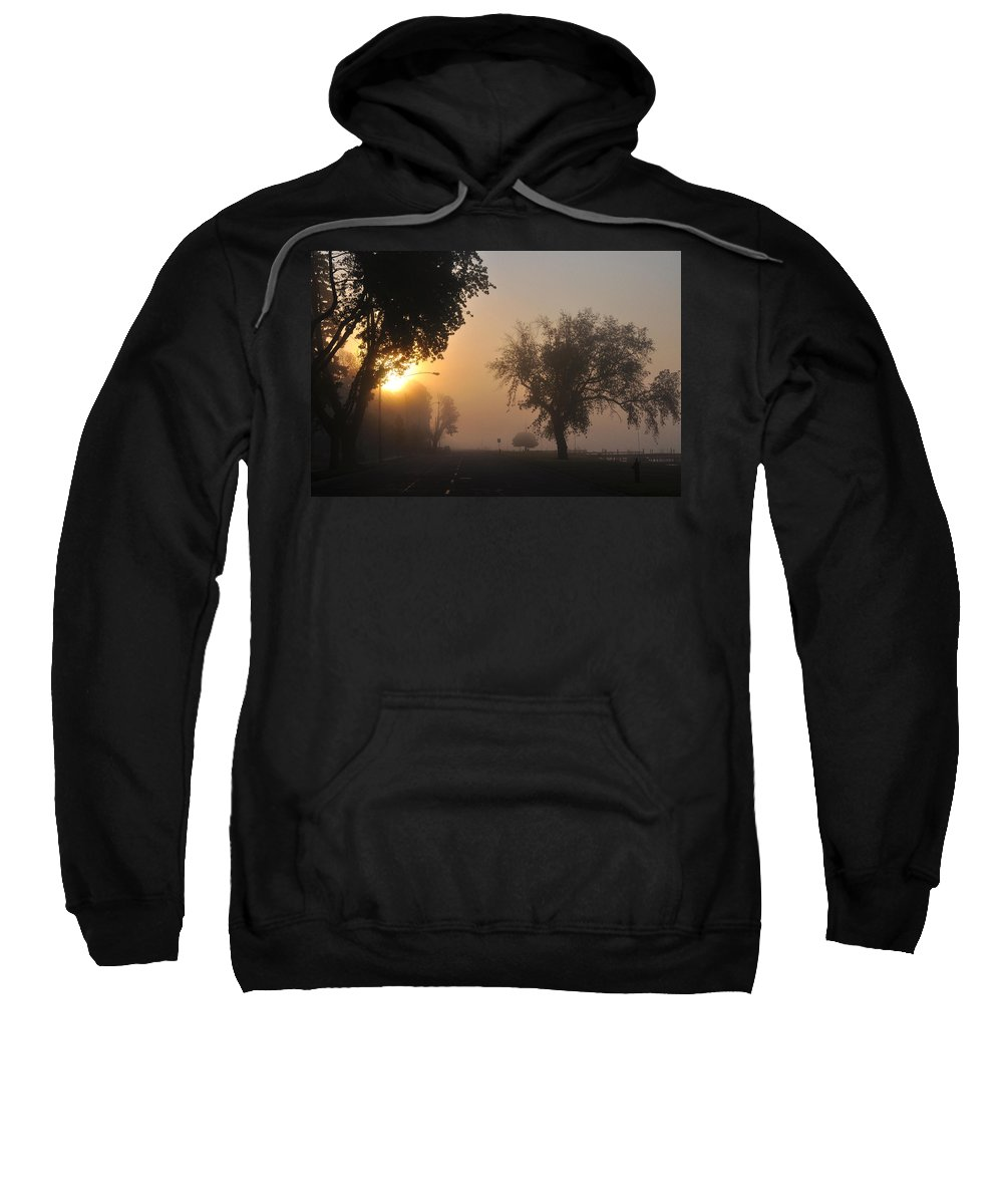 Street Sweatshirt featuring the photograph Foggy Morn Street by Tim Nyberg