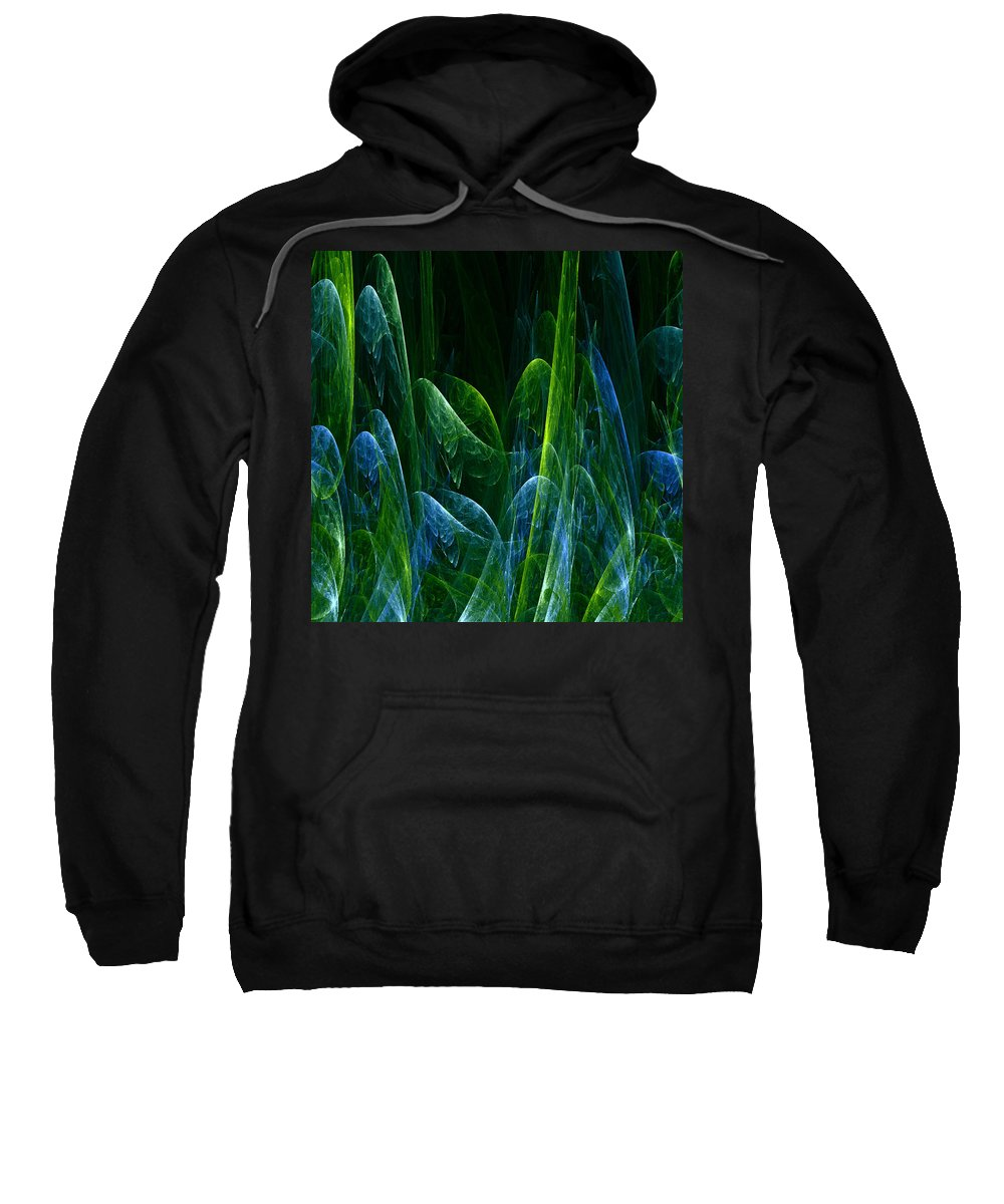 Abstract Tree Trees Wood Forest Green Blue Ice Frost Frosty Nature Expressionism Painting Fractal Sweatshirt featuring the painting Frosty Trees by Steve K