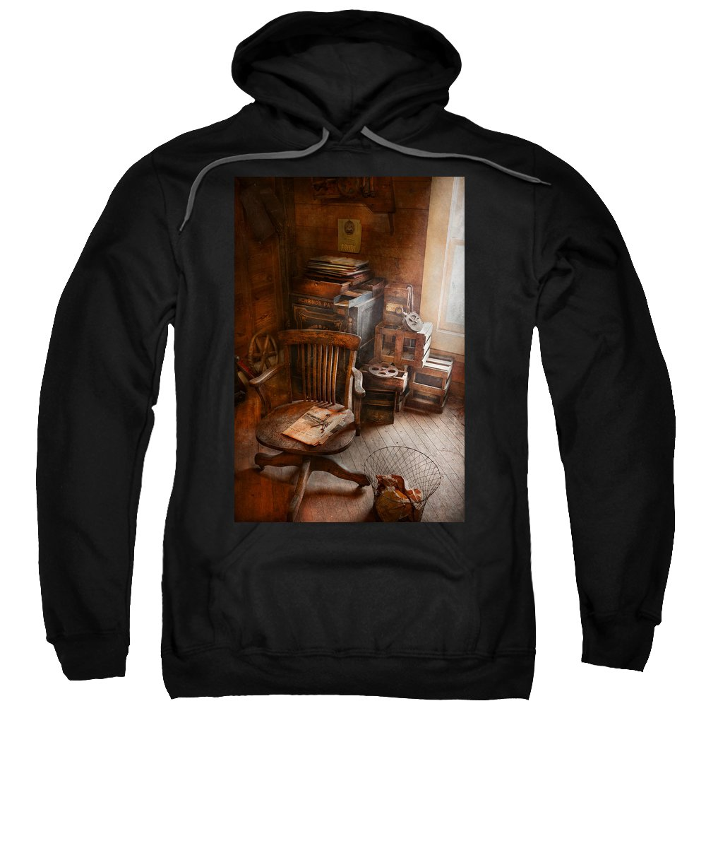 Office Sweatshirt featuring the photograph Furniture - Chair - The Engineers Office by Mike Savad