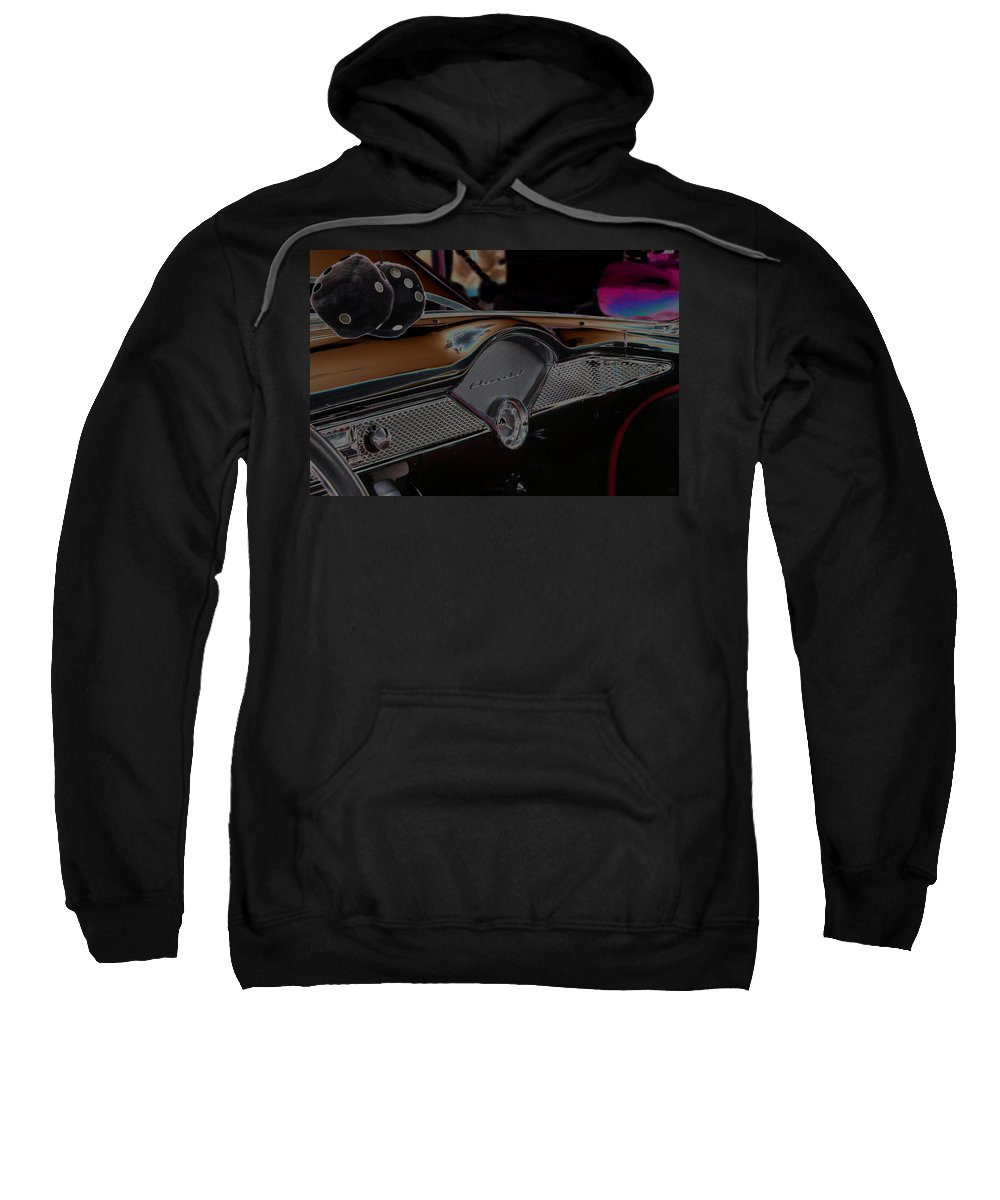 Chevy Dashboard Sweatshirt featuring the photograph Fuzzy Dice Chevy by Carolyn Stagger Cokley