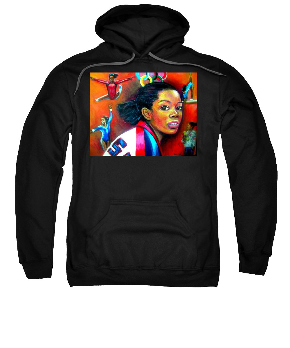 Olympics Sweatshirt featuring the painting Gabby Douglas by Jan Gilmore